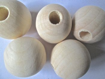 3.3cm Plain Unfinished Wood Beads with 10mm hole